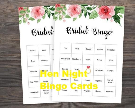 Hen Night Bingo Cards